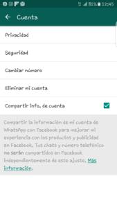 Desactivar compartir whatsapp con Facebook